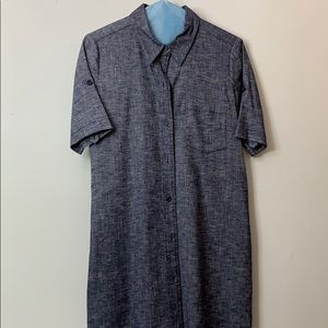 Theory button down knee length jean dress